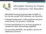 affordable housing for people with substance use disorders