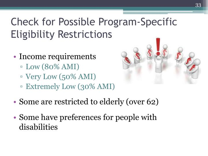 Check for Possible Program-Specific Eligibility Restrictions