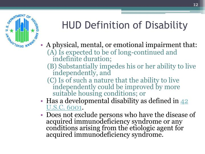 HUD Definition of Disability