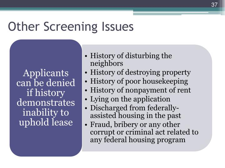 Other Screening Issues