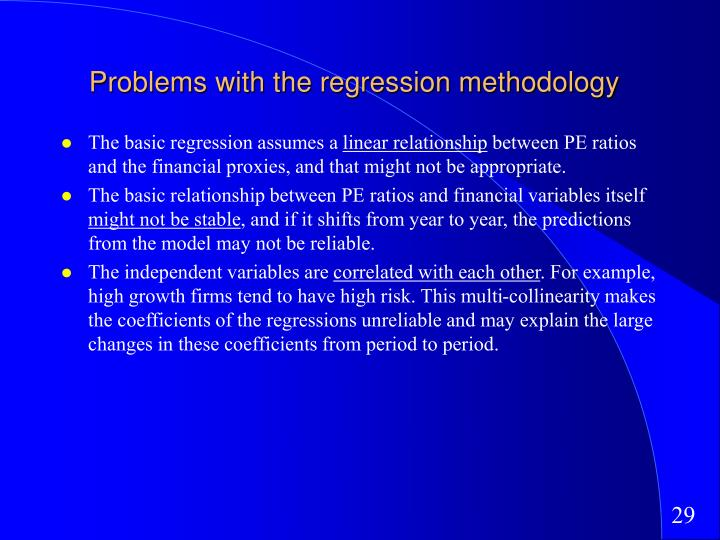 Problems with the regression methodology