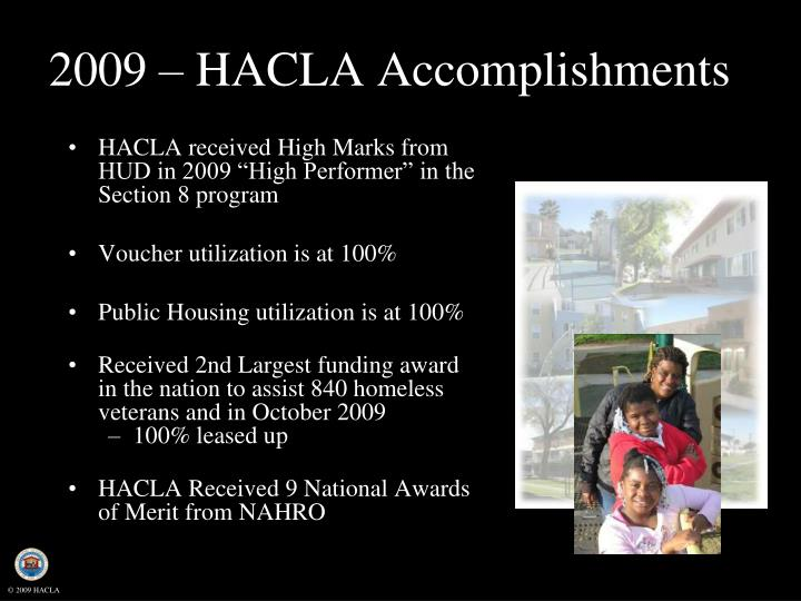 2009 hacla accomplishments