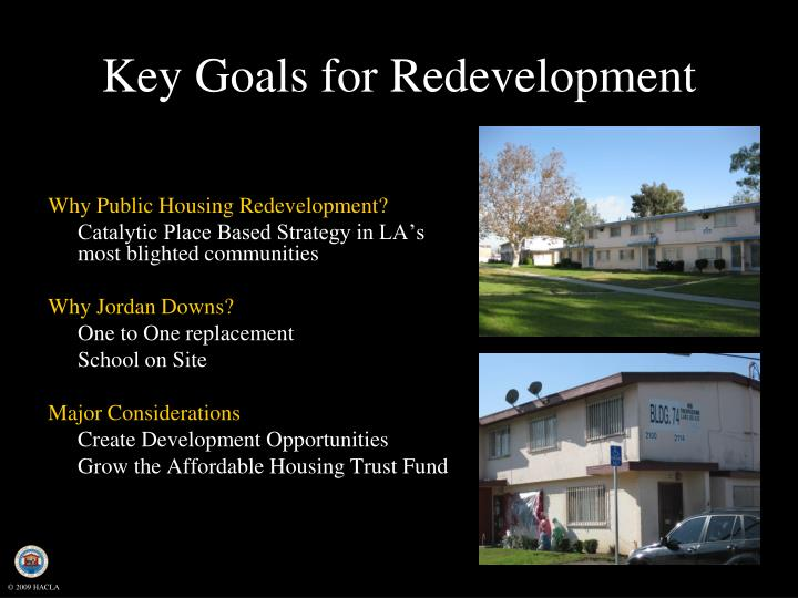 Key Goals for Redevelopment