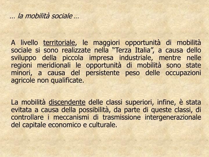 … la mobilità sociale