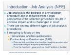 introduction job analysis nfe