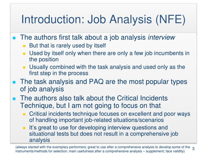 Introduction: Job Analysis (NFE)