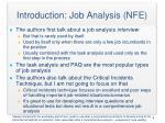 introduction job analysis nfe1
