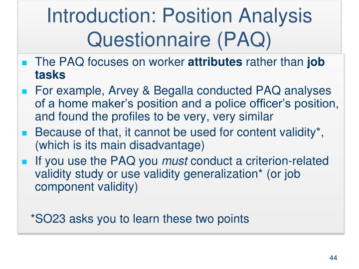 Introduction: Position Analysis Questionnaire (PAQ)