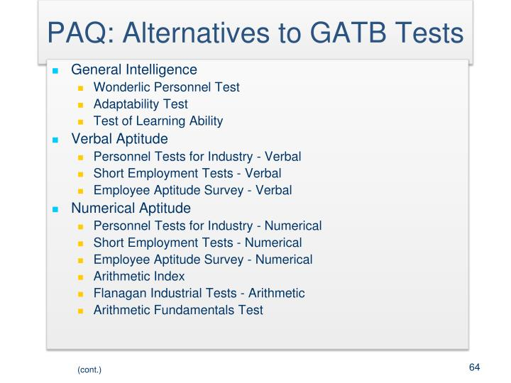 PAQ: Alternatives to GATB Tests