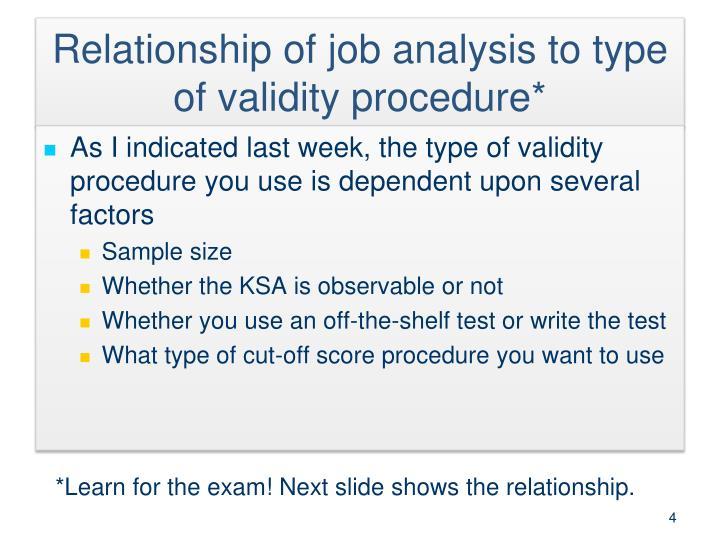 Relationship of job analysis to type of validity procedure*