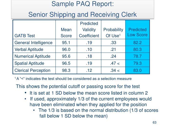 Sample PAQ Report: