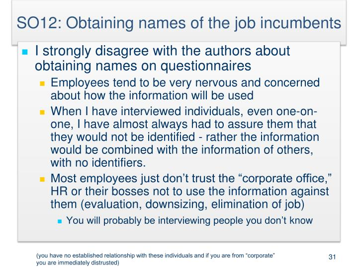 SO12: Obtaining names of the job incumbents