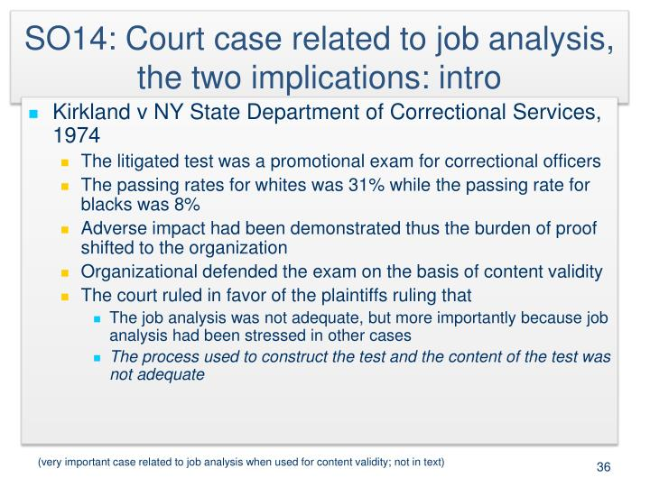 SO14: Court case related to job analysis, the two implications: intro