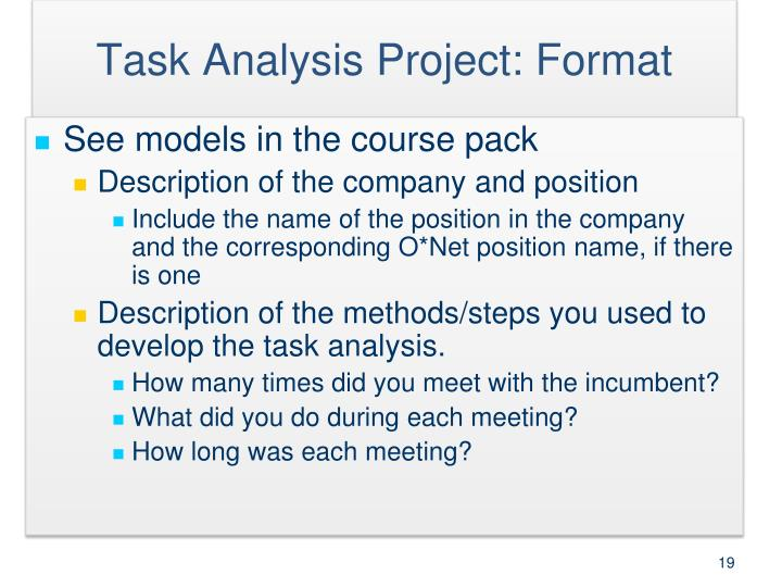 Task Analysis Project: Format
