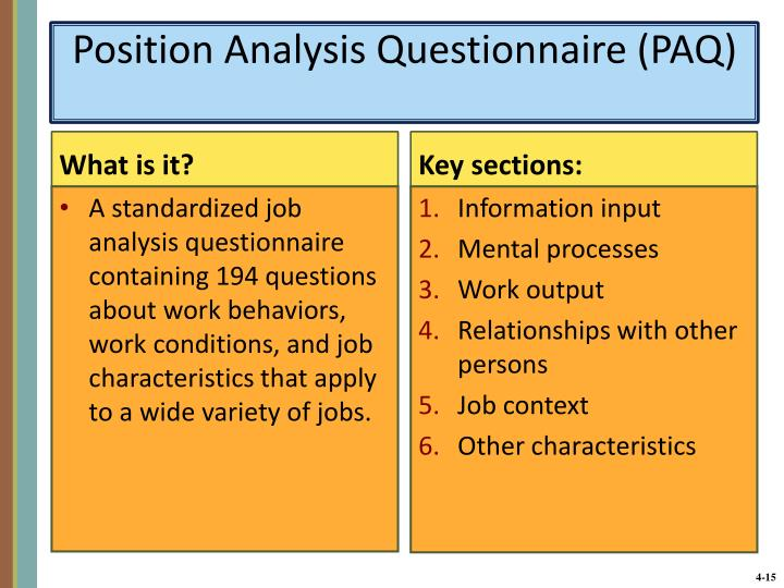 Position Analysis Questionnaire (PAQ)