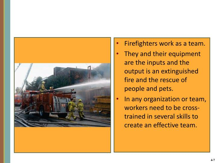 Firefighters work as a team.