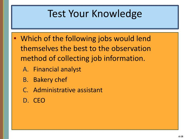 Which of the following jobs would lend themselves the best to the observation method of collecting job information.