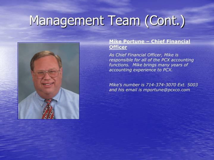 Management Team (Cont.)