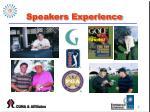 speakers experience