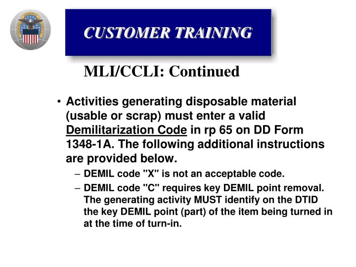 Activities generating disposable material (usable or scrap) must enter a valid