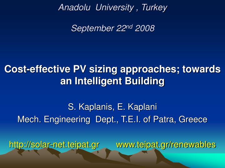 anadolu university turkey september 22 nd 2008