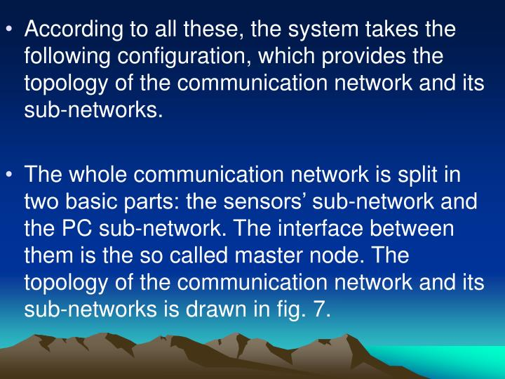 According to all these, the system takes the following configuration, which provides the topology of the communication network and its sub-networks.