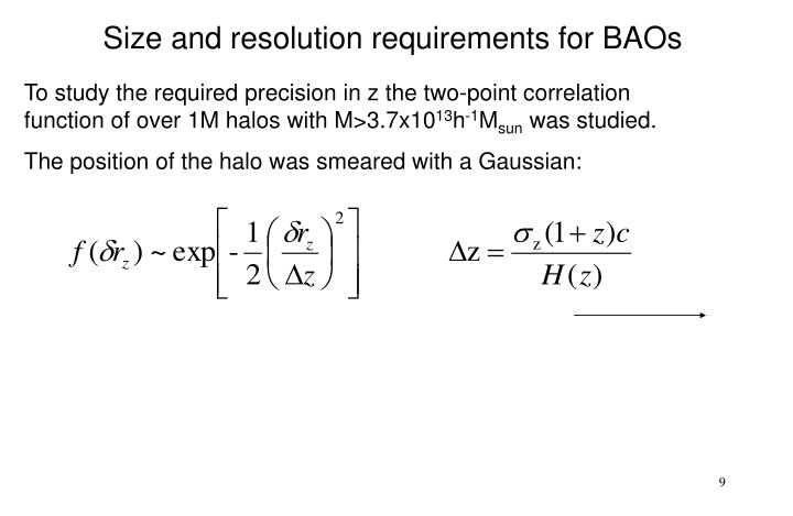 Size and resolution requirements for BAOs
