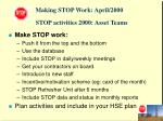 stop activities 2000 asset teams