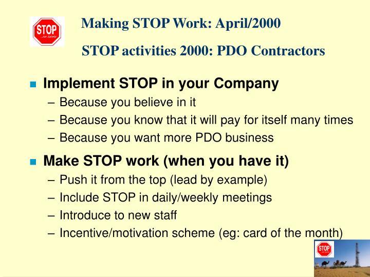 Making STOP Work: April/2000
