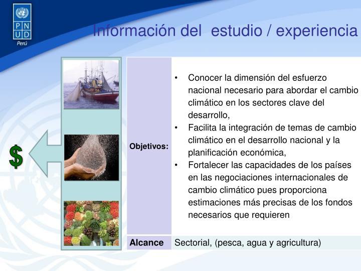 Información del  estudio / experiencia