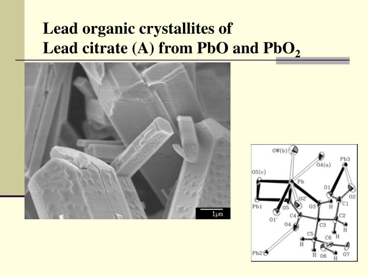 Lead organic crystallites of