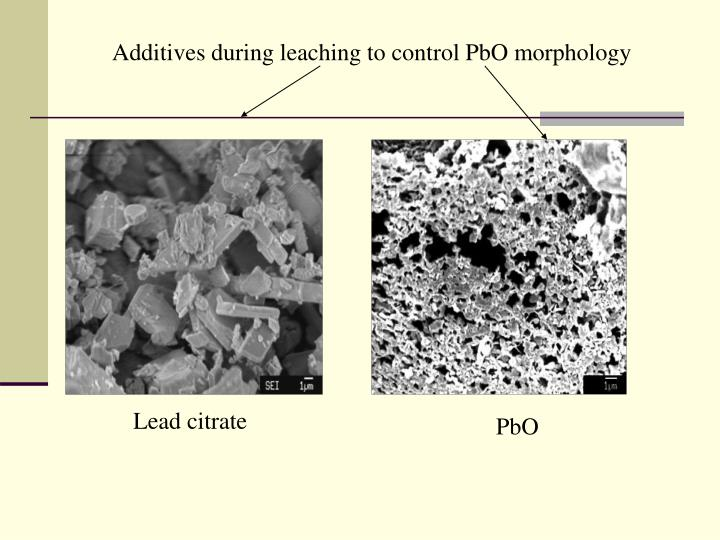 Additives during leaching to control PbO morphology