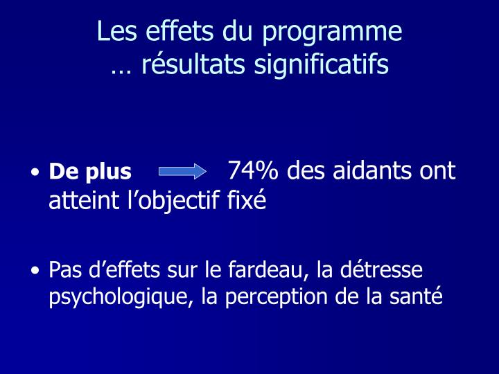 Les effets du programme