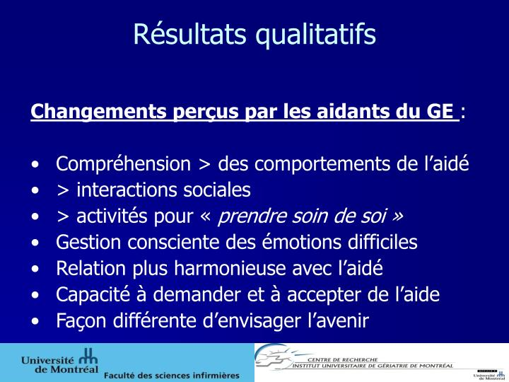 Résultats qualitatifs