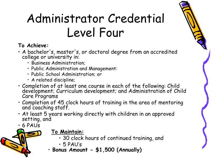Administrator Credential Level Four