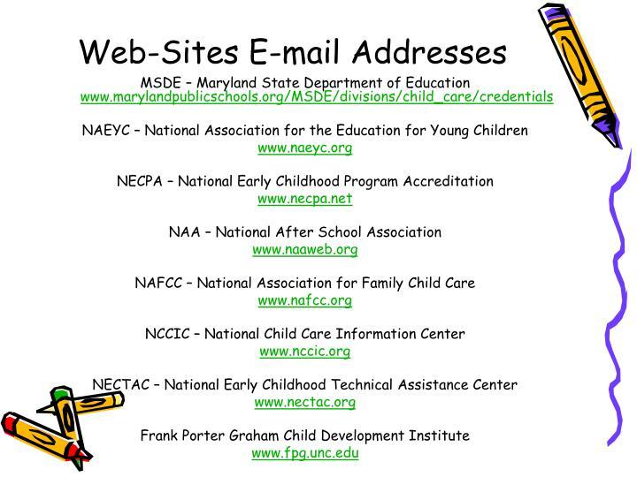 Web-Sites E-mail Addresses