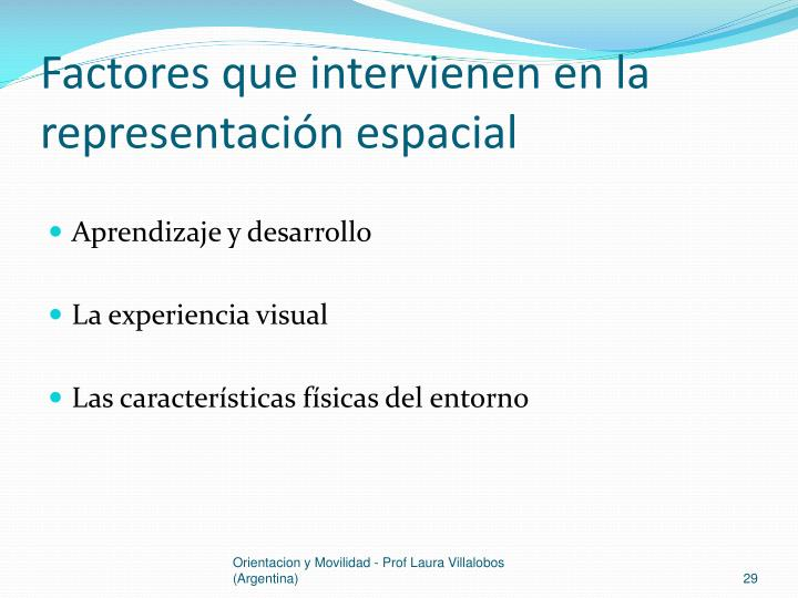 Factores que intervienen en la representación espacial