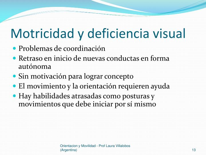 Motricidad y deficiencia visual