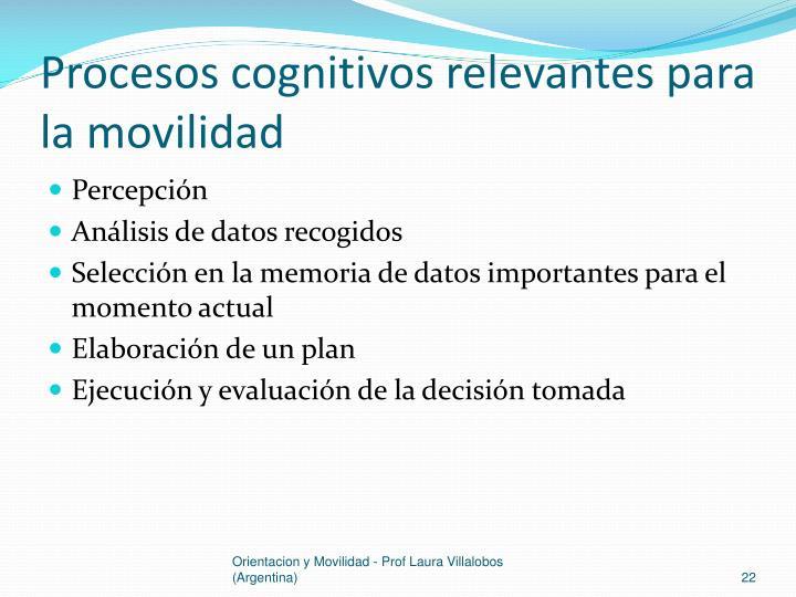 Procesos cognitivos relevantes para la movilidad