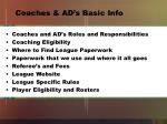 coaches ad s basic info
