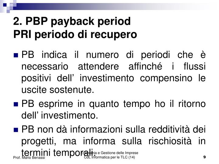 2. PBP payback period