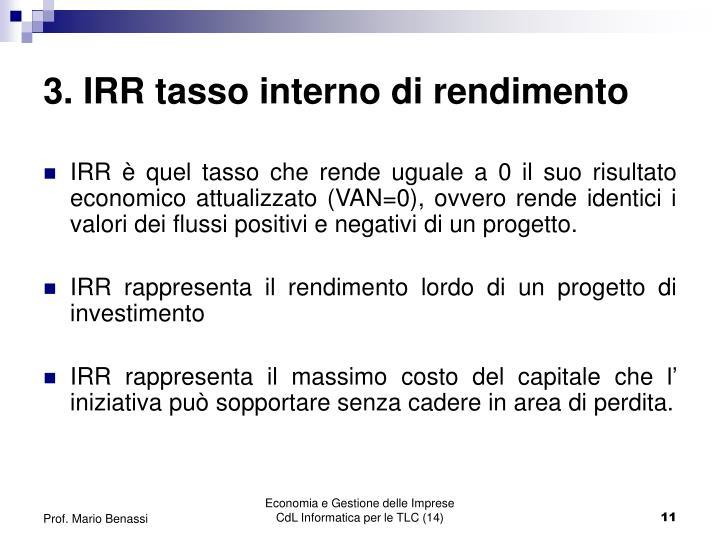 3. IRR tasso interno di rendimento