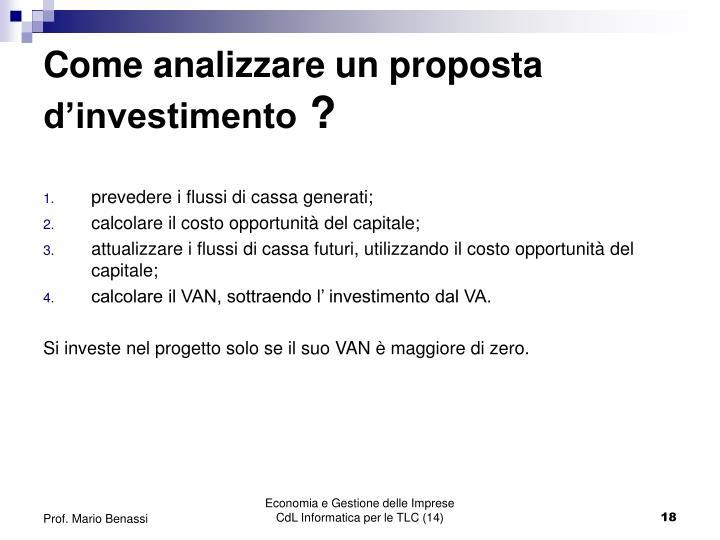 Come analizzare un proposta d'investimento