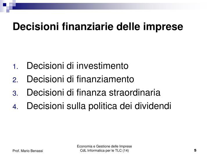 Decisioni finanziarie delle imprese