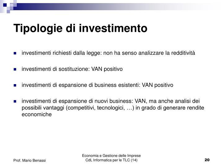 Tipologie di investimento