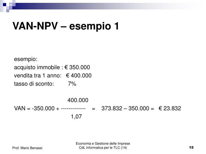 VAN-NPV – esempio 1