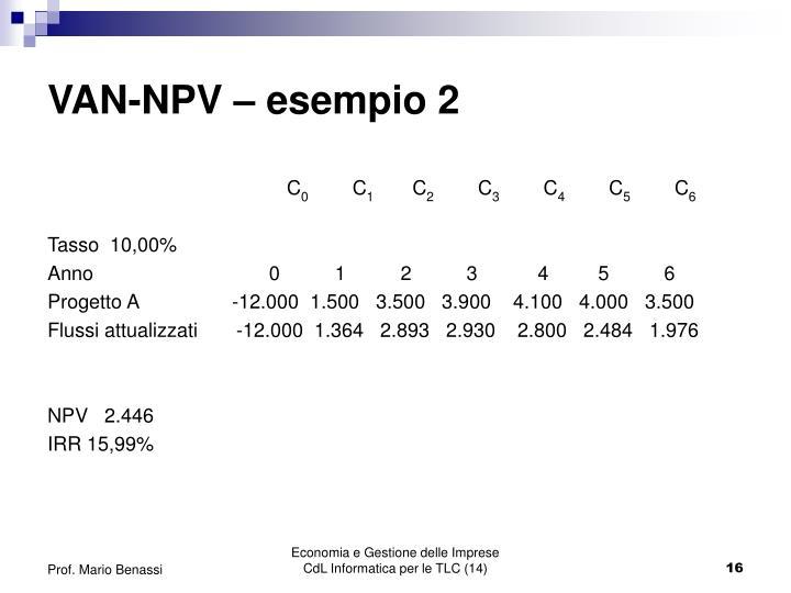 VAN-NPV – esempio 2