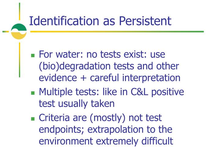 Identification as Persistent