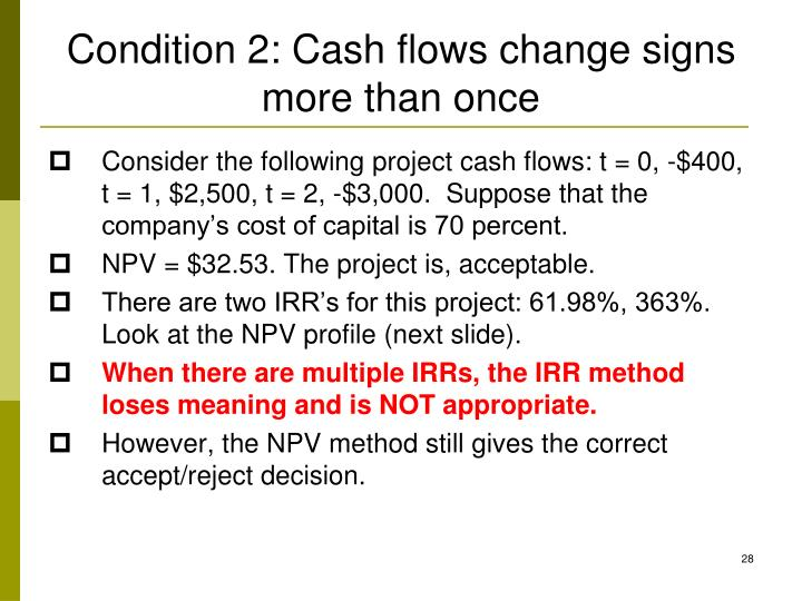 Condition 2: Cash flows change signs