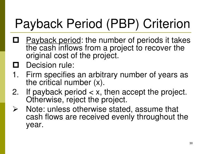 Payback Period (PBP) Criterion
